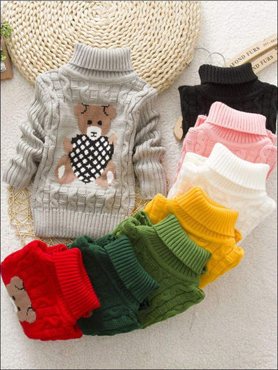 Girls Knitted Bear Turtle-Neck Sweater - Girls Sweater