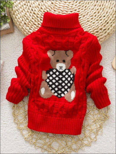 Girls Knitted Bear Turtle-Neck Sweater - Red / 2T - Girls Sweater