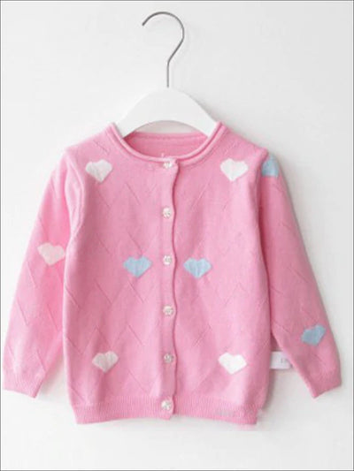 Girls Knitted Cozy Heart Cardigan - Pink / 2T - Girls Sweater