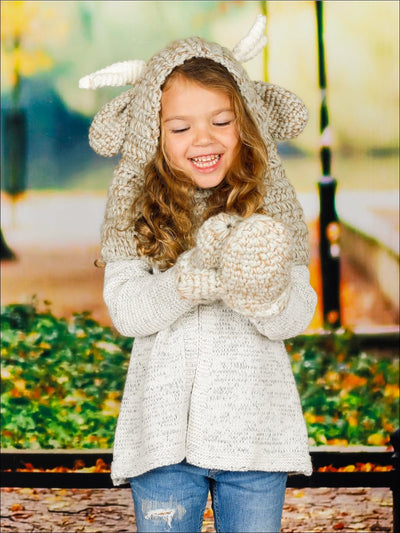 Girls Knitted Reindeer Hat with Matching Mittens - Girls Hats