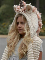 Girls Knitted Unicorn Beanie Hat with Scarf - Girls Hats