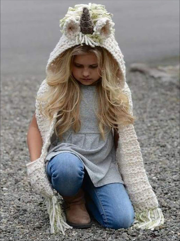 Girls Knitted Unicorn Beanie Hat with Scarf - Green / One Size - Girls Hats