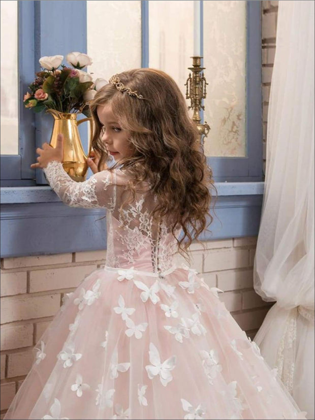 Girls Lace and Butterflies Gown Communion Dress - Girls Gown