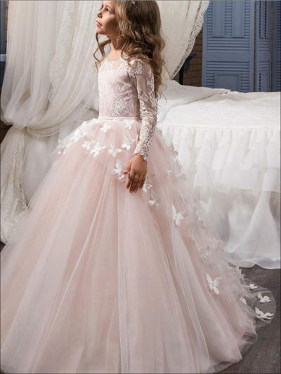Girls Lace and Butterflies Gown Communion Dress - Blush / 2T - Girls Gown