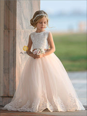 Girls Lace and Tulle Flower Girl Dress and Communion Gown - Girls Flower Girl Dress