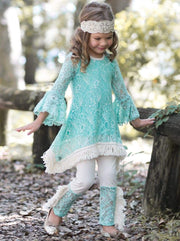 Girls Lace Bell Sleeve Crochet Hem Side Tail Tunic & Cuffed Leggings Set - Girls Fall Casual Set