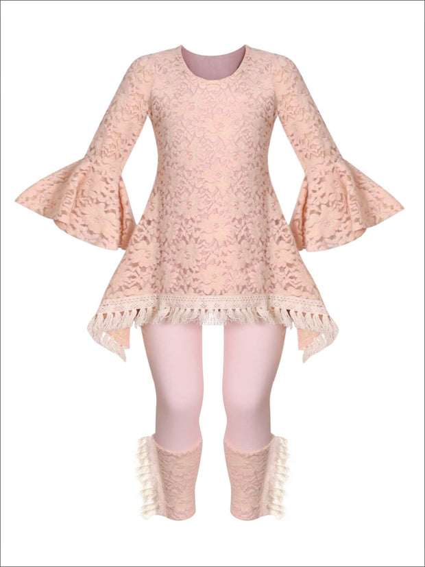 Girls Lace Bell Sleeve Crochet Hem Side Tail Tunic & Cuffed Leggings Set - Blush / 2T/3T - Girls Fall Casual Set