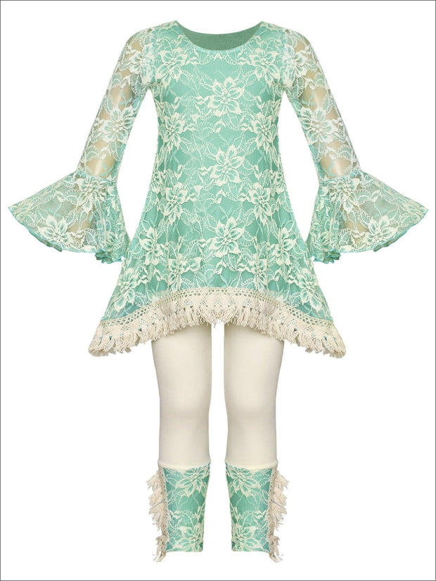 Girls Lace Bell Sleeve Crochet Hem Side Tail Tunic & Cuffed Leggings Set - Mint / 2T/3T - Girls Fall Casual Set