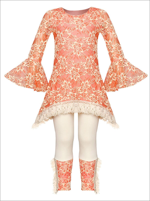 Girls Lace Bell Sleeve Crochet Hem Side Tail Tunic & Cuffed Leggings Set - Orange / 2T/3T - Girls Fall Casual Set