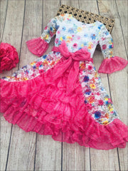 Girls Lace Bell Sleeve Tiered Ruffled Dress with Sash - Girls Spring Dressy Dress