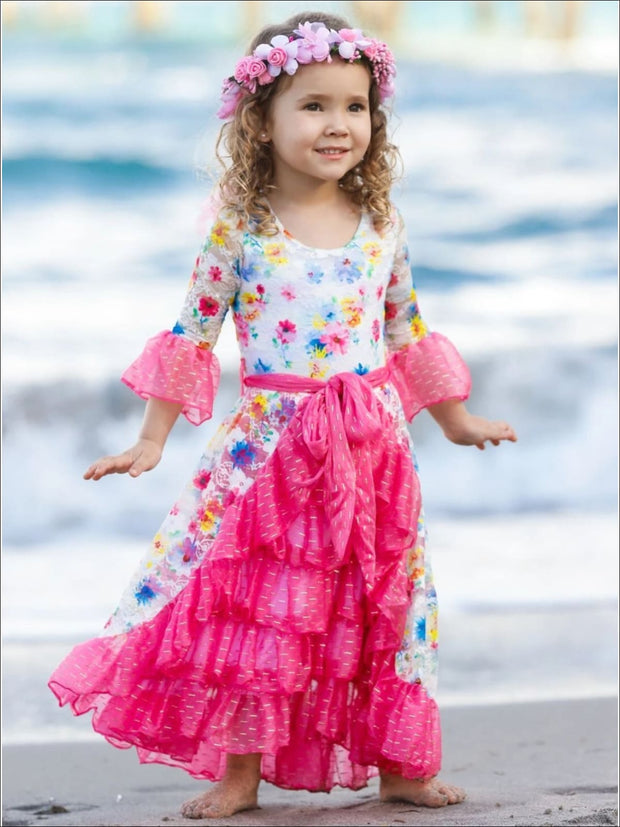 Girls Lace Bell Sleeve Tiered Ruffled Dress with Sash - Fuchsia / 2T/3T - Girls Spring Dressy Dress