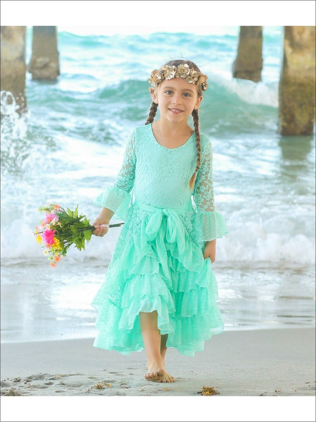Girls Lace Bell Sleeve Tiered Ruffled Dress with Sash - Mint / 2T/3T - Girls Spring Dressy Dress