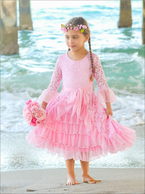 Girls Lace Bell Sleeve Tiered Ruffled Dress with Sash - Pink / 2T/3T - Girls Spring Dressy Dress