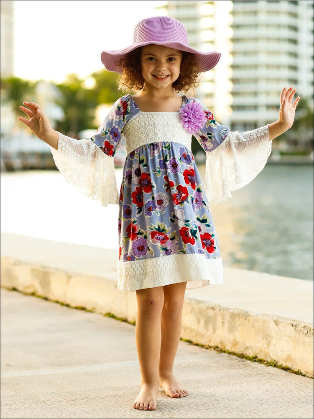 Girls Lace Boho Sleeve Dress - Girls Spring Casual Dress