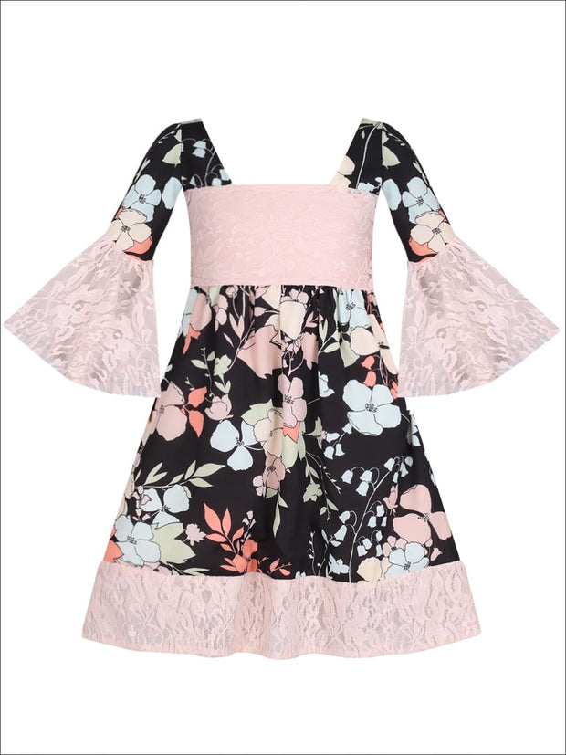 Girls Lace Boho Sleeve Dress - Black / 2T/3T - Girls Spring Casual Dress