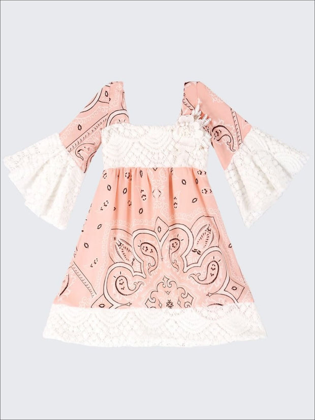 Girls Lace Boho Sleeve Dress - Pink / 2T/3T - Girls Spring Casual Dress