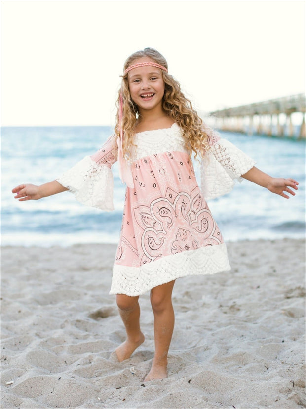 Girls Lace Boho Sleeve Dress - Pink / 4T/5Y - Girls Spring Casual Dress