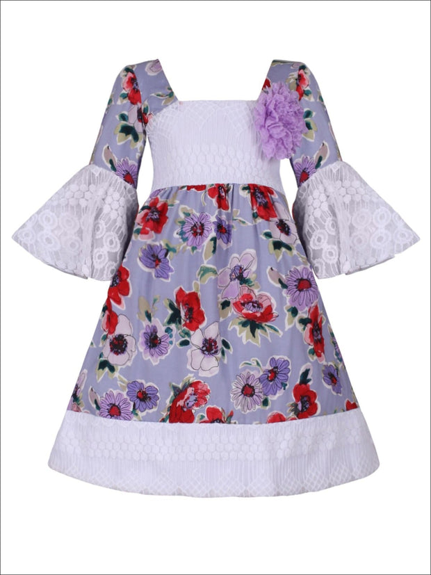 Girls Lace Boho Sleeve Dress - Purple / 2T/3T - Girls Spring Casual Dress