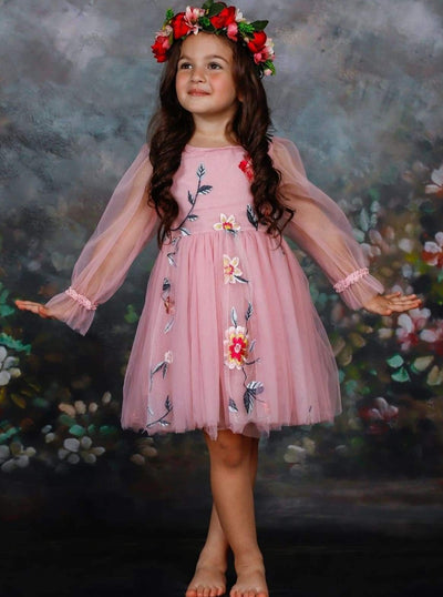 Girls Lace Chiffon Flower Dress - Girls Spring Dressy Dress