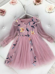 Girls Lace Chiffon Flower Dress - Pink / 6Y - Girls Spring Dressy Dress
