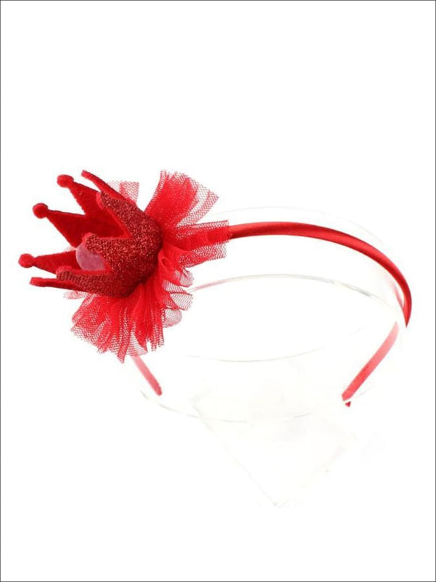 Girls Lace Crown Headband ( 4 color options) - Red / One - Hair Accessories