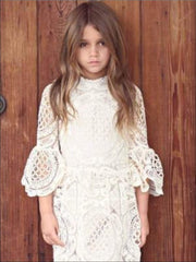 Girls Lace Embroidered Flare Sleeve High Neck Dress - Girls Spring Dressy Dress