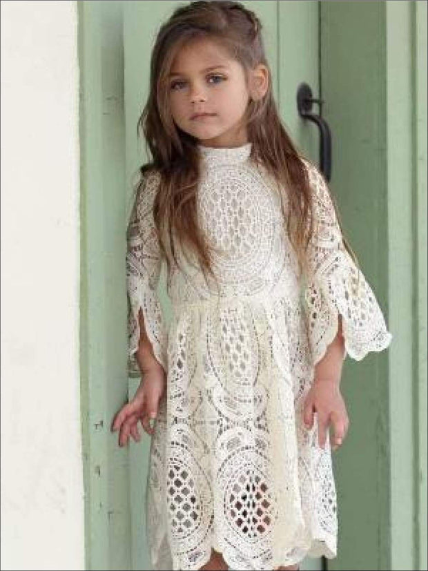 Girls Lace Embroidered Flare Sleeve High Neck Dress - White / 3T - Girls Spring Dressy Dress