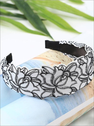Girls Lace Embroidery Wide Headband - White - Hair Accessories