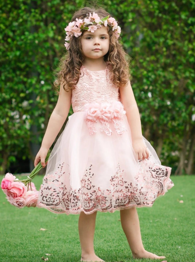 Girls Lace Flower Applique Sequin Flower Girl & Special Occasion Party Dress (6 Colors Options) - Girls Spring Dressy Dress