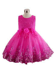 Girls Lace Flower Applique Sequin Flower Girl & Special Occasion Party Dress (6 Colors Options) - Hot Pink / 3T - Girls Spring Dressy Dress