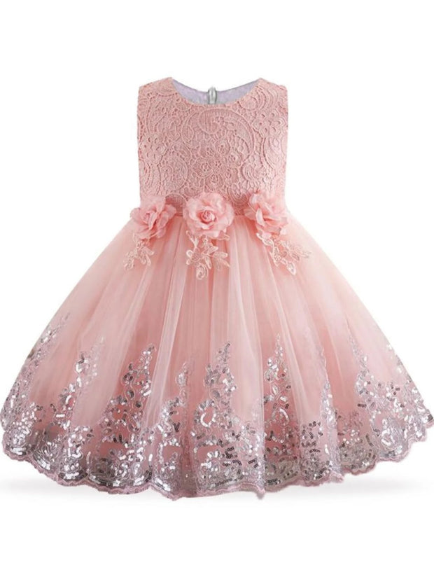 Girls Lace Flower Applique Sequin Flower Girl & Special Occasion Party Dress (6 Colors Options) - Peach / 3T - Girls Spring Dressy Dress