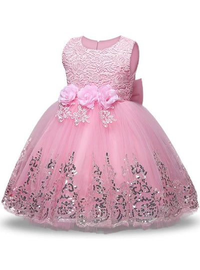 Girls Lace Flower Applique Sequin Flower Girl & Special Occasion Party Dress (6 Colors Options) - Pink / 3T - Girls Spring Dressy Dress