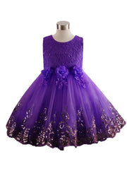 Girls Lace Flower Applique Sequin Flower Girl & Special Occasion Party Dress (6 Colors Options) - Purple / 3T - Girls Spring Dressy Dress