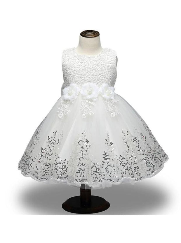 Girls Lace Flower Applique Sequin Flower Girl & Special Occasion Party Dress (6 Colors Options) - White / 3T - Girls Spring Dressy Dress