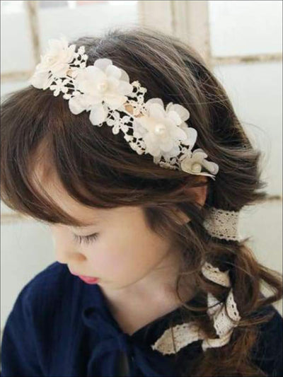 Girls Lace Flower Headband - Hair Accessories