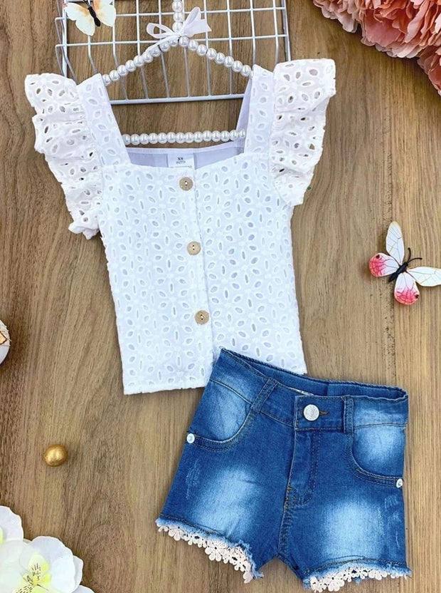 Girls Lace Flutter Sleeve Button Top and Denim Shorts Set - White / 2T - Girls Spring Casual Set