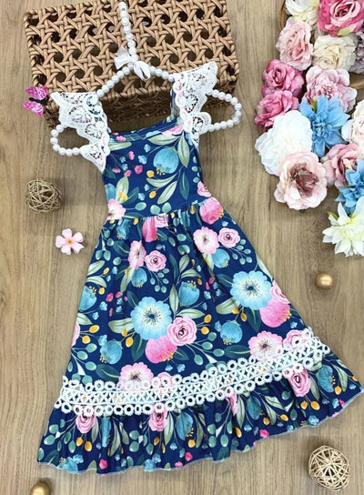 Girls Lace Flutter Sleeve Floral Ruffled Midi Dress - Blue / 2T - Girls Spring Casual Dress