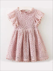 Girls Lace Flutter Sleeve Pom Pom Dress - Girls Spring Casual Dress