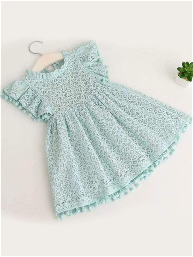 Girls Lace Flutter Sleeve Pom Pom Dress - green / 2T - Girls Spring Casual Dress