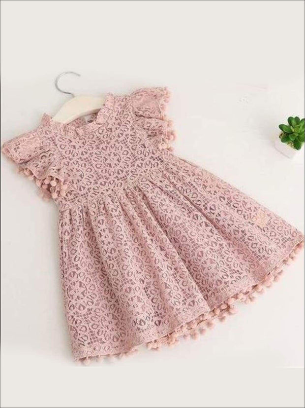 Girls Lace Flutter Sleeve Pom Pom Dress - pink / 2T - Girls Spring Casual Dress