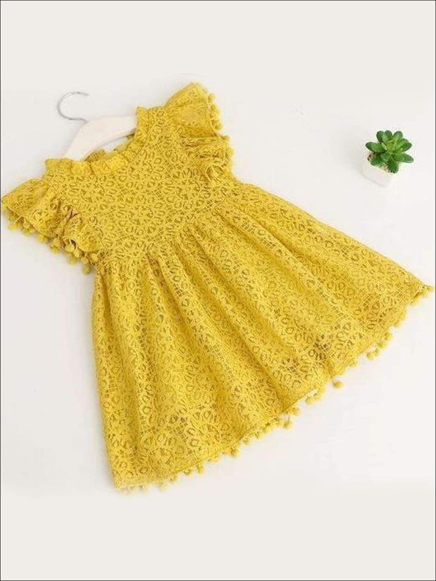 Girls Lace Flutter Sleeve Pom Pom Dress - yellow / 2T - Girls Spring Casual Dress