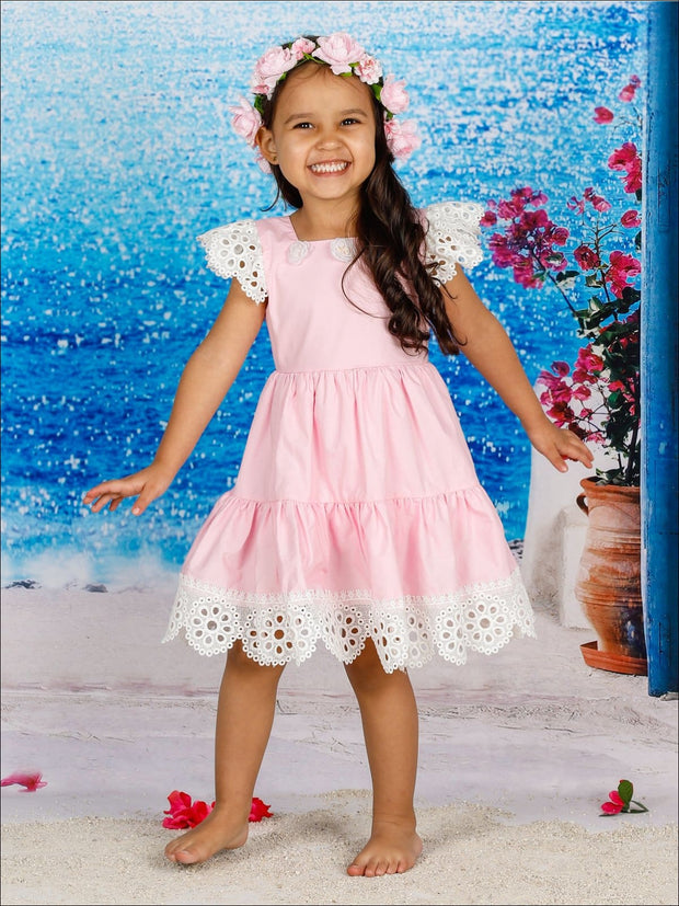Girls Lace Flutter Sleeve Ruffled Flower Trim Dress - Girls Spring Casual Dress