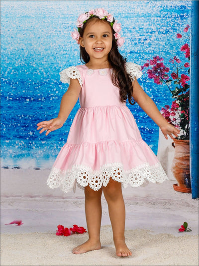 Girls Lace Flutter Sleeve Ruffled Flower Trim Dress - Pink / 2T/3T - Girls Spring Casual Dress