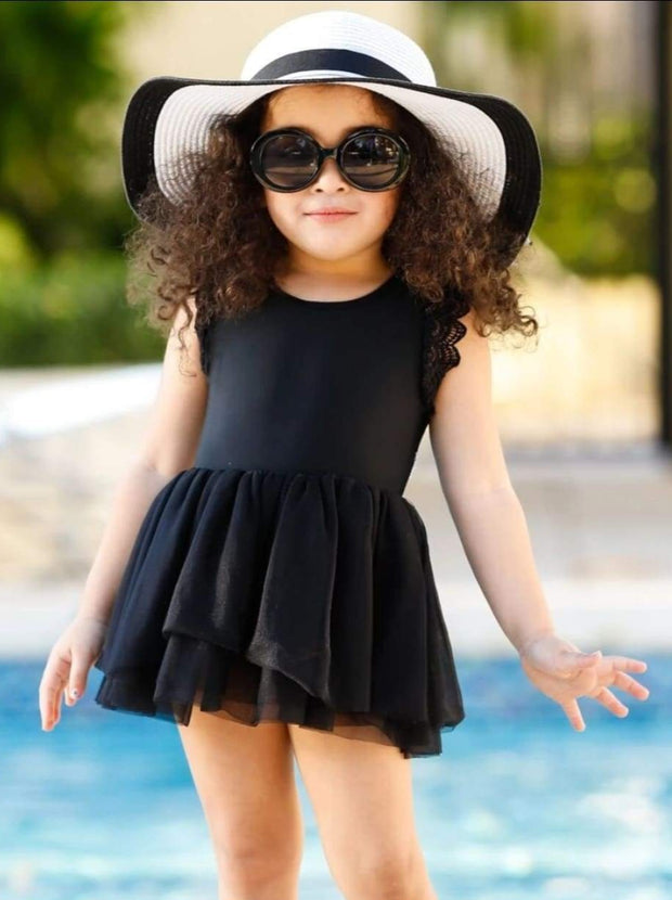 Girls Lace Flutter Sleeve Tutu One Piece Swimsuit - Black / 12MOS/2T - Girls One Piece Swimsuit
