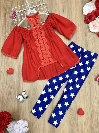 Girls Lace Halter Neck Tunic and Star Leggings Set - Red / 2T/3T - Girls Spring Casual Set