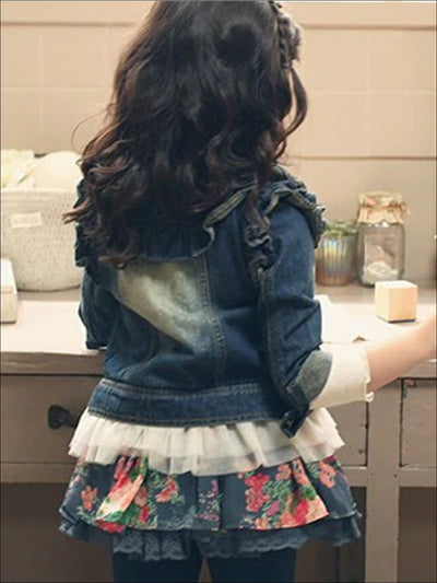 Girls Lace Hem Denim Jacket with Ruffle Detail - Girls Jacket