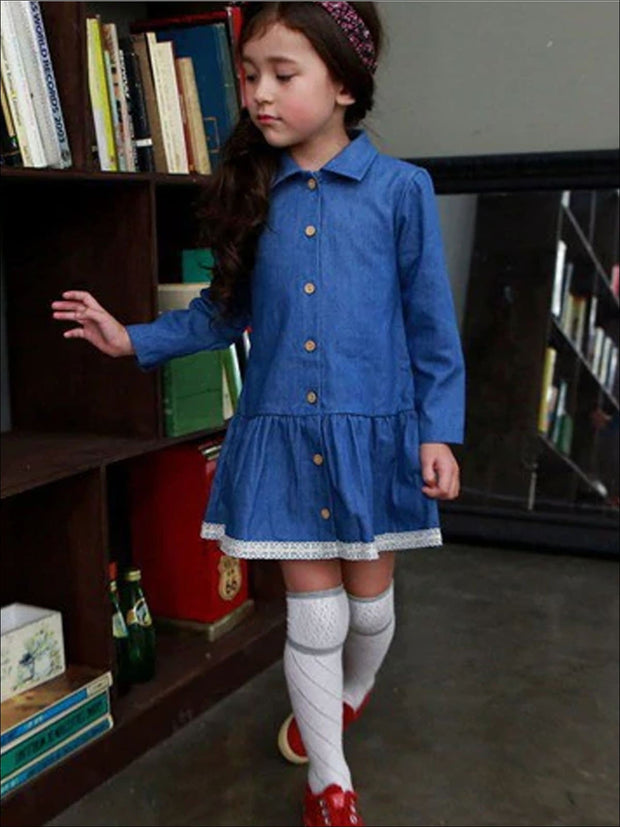 Girls Lace Hem Long Sleeve Denim Dress - Blue / 2T - Girls Fall Casual Dress