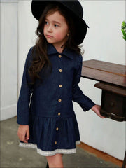 Girls Lace Hem Long Sleeve Denim Dress - Navy / 2T - Girls Fall Casual Dress