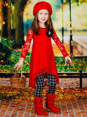 Girls Lace Hi-Lo Long Sleeve Tunic with Flower Trim & Printed Leggings Set - Girls Fall Dressy Set