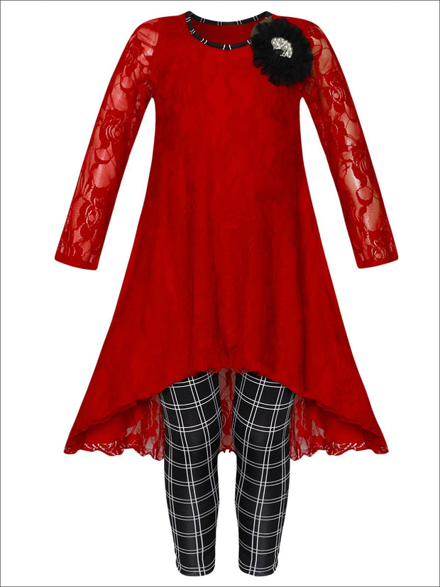 Girls Lace Hi-Lo Long Sleeve Tunic with Flower Trim & Printed Leggings Set - Red / 2T/3T - Girls Fall Dressy Set